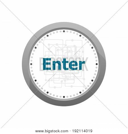 The Word Enter On Digital Screen, Business Concept . Abstract Wall Clock Isolated On A White Backgro