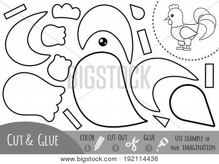 Education paper game for children Rooster. Use scissors and glue to create the image.