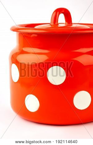 Domestic culinary container isolated. Colorful cookware on white background. Lidded jug for milk.