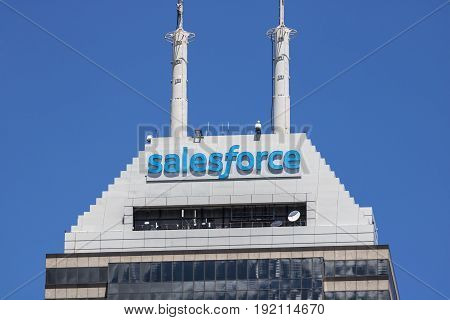 Indianapolis - Circa June 2017: Recently renamed Salesforce Tower. Salesforce.com is a cloud computing company and will add 800 new jobs to Indianapolis I