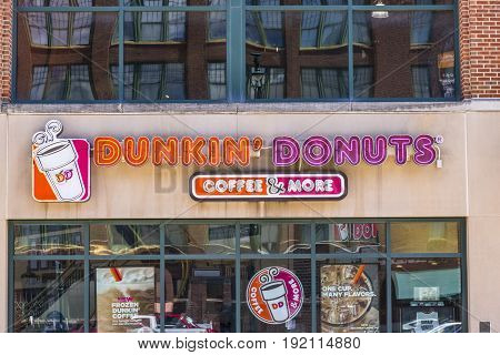 Indianapolis - Circa June 2017: Dunkin' Donuts Retail Location. Dunkin' is America's favorite every day all-day stop for coffee and baked goods VII