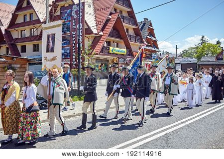 Bialka Tatrzanska, Poland - June 15, 2017: Corpus Christi Religious Procession Through A Main Street