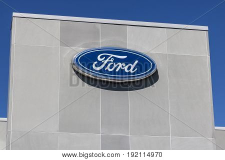 Indianapolis - Circa June 2017: Local Ford Car and Truck Dealership. Ford sells products under the Lincoln and Motorcraft brands XIII