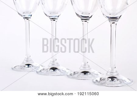 Row of empty champagne glasses. Cutted picture, wineglasses isolated.