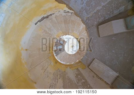 Narrow Spiral Staircase In The Tower Of The Fortress Of Mamula. Montenegro, Boka-kotor Bay.
