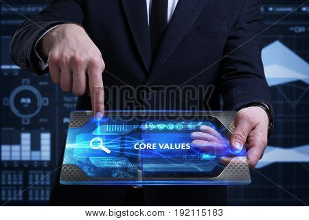 Business, Technology, Internet And Network Concept. Young Businessman Working On A Virtual Screen Of