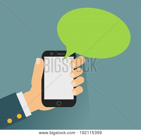 Hand holing smartphone with blank speech bubble for text. Using smart phone similar to iphon for text messaging. Eps 10 flat design concept.