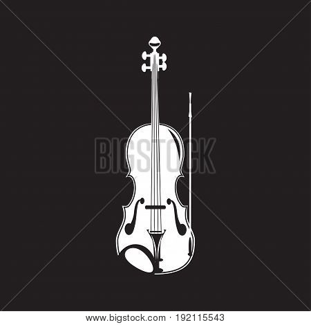 Vector illustration of violin white template on black background. Flat style design.