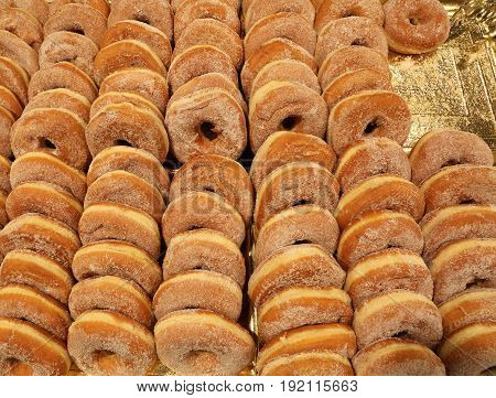 Many Sweet Donuts Stuffed And Not For Sale In Bakery