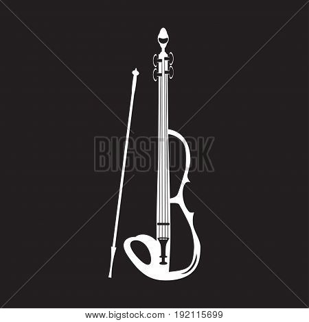 Vector illustration of violin white template on black background. Electric violin with bow in flat style.