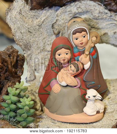 Peruvian Nativity Scene With The Holy Family In Painted Pottery