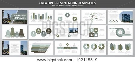 Set of green and gray elements for multipurpose presentation template slides with graphs and charts. Leaflet, corporate report, marketing, advertising, annual report, book cover design.
