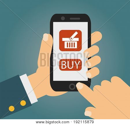 Hand holing smart phone with buy button on the screen. E-commerce flat design concept. Using mobile smart phone similar to iphon for online purchasing. Eps 10 vector