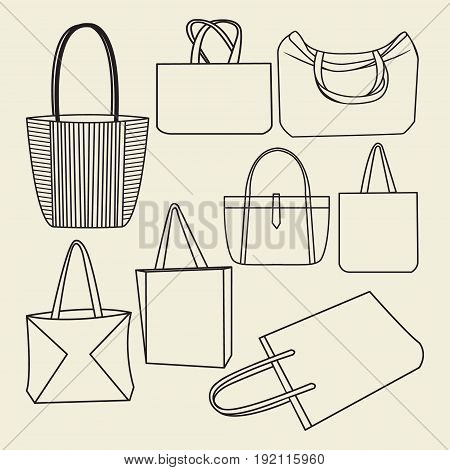 vector outlined icon set of canvas bags collection on white background