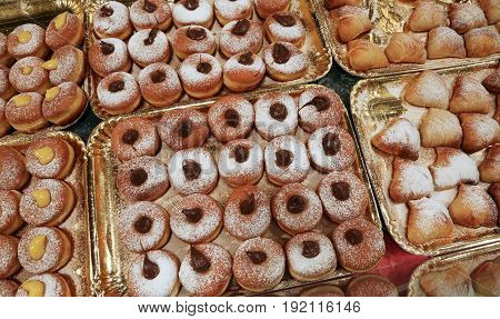 Sweet Cream Filled Donuts For Sale In The Pastry Shop