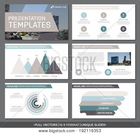 Set of green and gray, brown elements for multipurpose presentation template slides with graphs and charts. Leaflet, corporate report, marketing, advertising, annual report, book cover design.