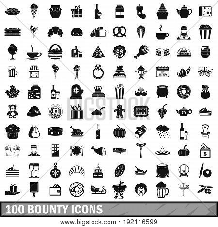 100 bounty icons set in simple style for any design vector illustration
