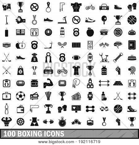 100 boxing icons set in simple style for any design vector illustration