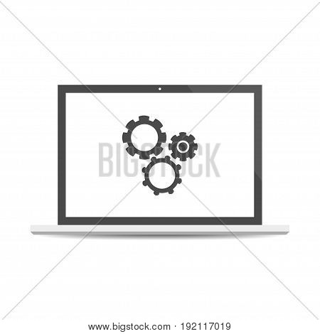 Testing system icon. Functional testing software. Laptop with cogwheels isolated on background. Vector