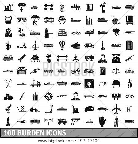 100 burden icons set in simple style for any design vector illustration
