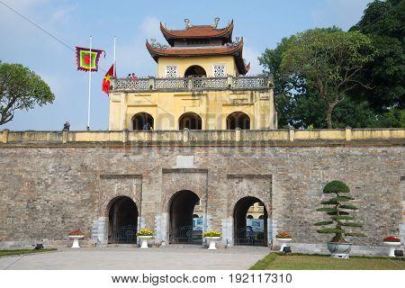 HANOI, VIETNAM - JANUARY 10, 2016: The main bastion with the gates of the ancient citadel of Hanoi
