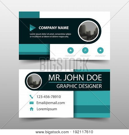 Blue circle corporate business card name card template horizontal simple clean layout design template