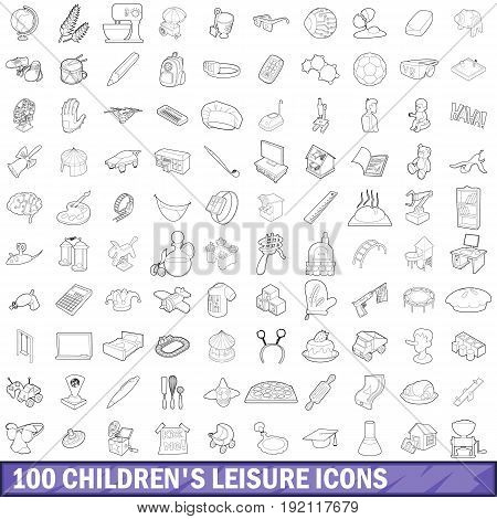 100 children s leisure icons set in outline style for any design vector illustration
