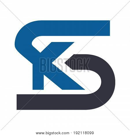 Letter SK or KS vector logo design.