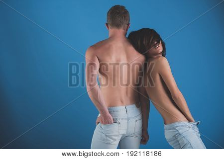 Man And Woman In Stylish Jeans