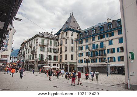 Chamonix, France - June 26, 2016. Facade of building with decorative painting in Chamonix, a famous ski resort located in Haute-Savoie Province, at the foot of Mont Blanc in the French Alps