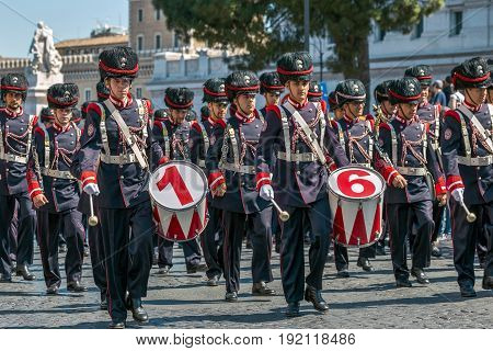 ROME ITALY - JUNE 2 2017: Military parade at Italian National Day. Officers singers. Picture is taken between Piazza Venezia and Teatro di Marcello.