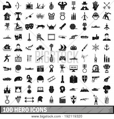 100 hero icons set in simple style for any design vector illustration