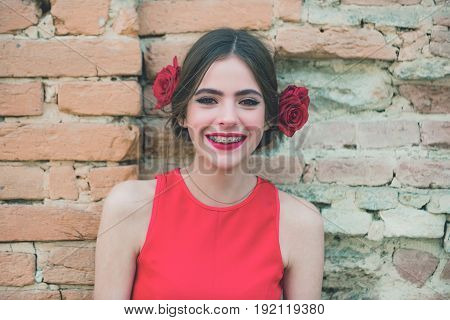 Happy Woman Smiling With Dental Braces On Teeth