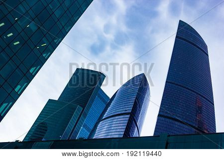 Moscow-city (Moscow international Business center), Russia, a complex of modern buildings with unusual shapes against the sky