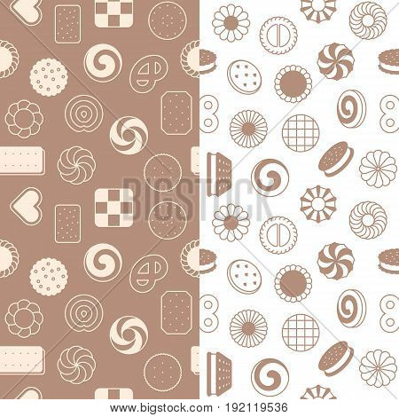 seamless pattern of cookies, biscuit and cracker. suitable for use as wrapping paper,  greeting card or backdrop of party
