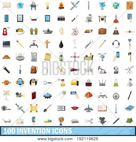 100 invention icons set in cartoon style for any design vector illustration