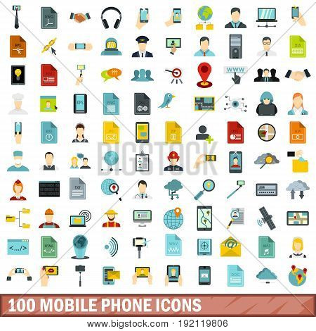 100 mobile phone icons set in flat style for any design vector illustration