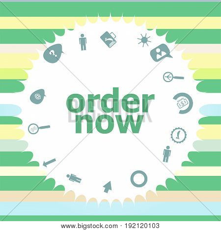 Text Order Now. Business Concept . Infographics Icon Set. Icons Of Maths, Graphs, Mail And So On.