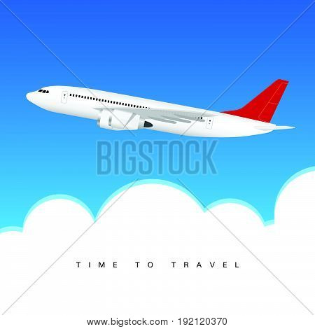 Airplane Above Clouds With Two Motors Illustration
