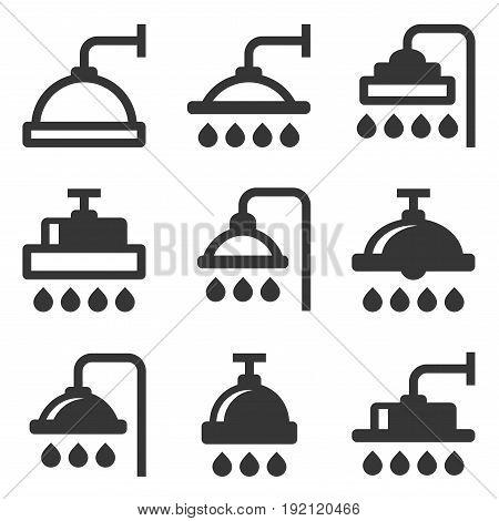 Shower Icon Set on White Background. Vector illustration