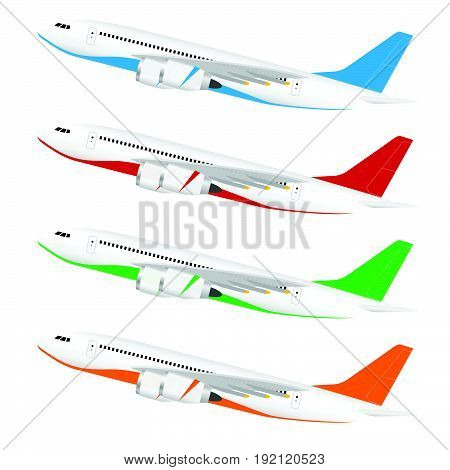 Airplane With Colored Tail Set Illustration