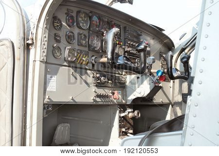 View Of Cockpit Of A X328 Atlas Angel Turbine Specially Equipped Aircraft For Sky Divers.