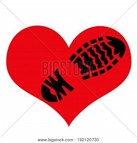 Imprint of the rough sole of the shoe on the symbol of love. Illustration.
