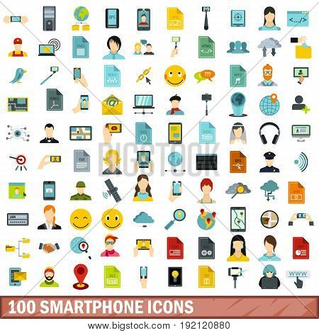 100 smartphone icons set in flat style for any design vector illustration