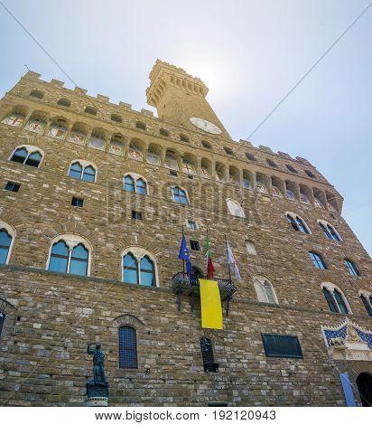 Palazzo Vecchio (old palace) in Piazza della Signoria Florence Italy