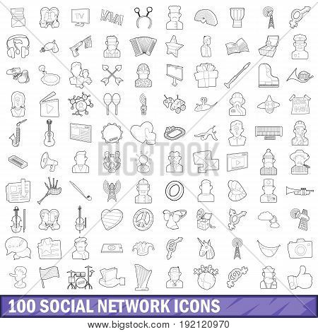 100 social network icons set in outline style for any design vector illustration