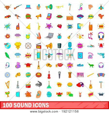 100 sound icons set in cartoon style for any design vector illustration