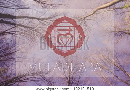 Muladhara chakra symbol. Poster for yoga class with sky view.