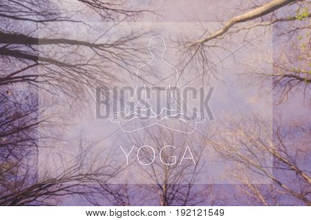 Yoga. Lotus symbol. Poster for yoga class with a sky view.