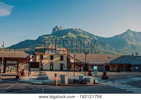 Saint-Gervais-Les-Bains, France - June 28, 2016. Train station with alpine landscape in the district of Le Fayet, a ski resort located in Haute-Savoie department, near the Mont Blanc in the French Alps